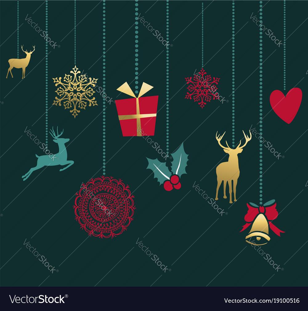 Merry christmas retro gold ornament greeting card