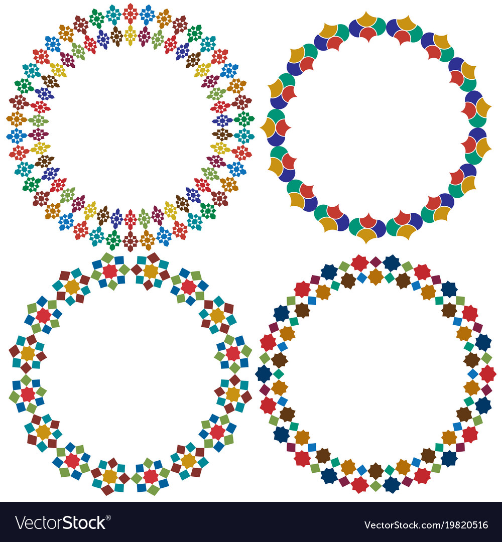 Moroccan tile circle frames graphics vector image