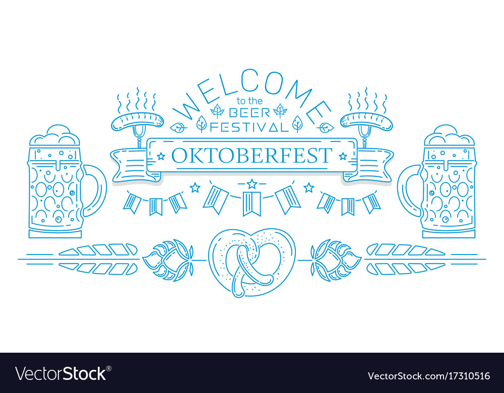 Oktoberfest line logo design vector image