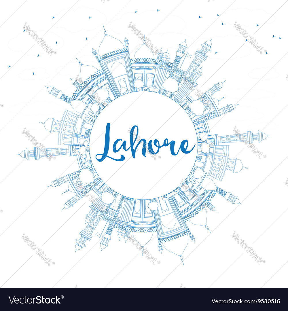Outline Lahore Skyline with Blue Landmarks