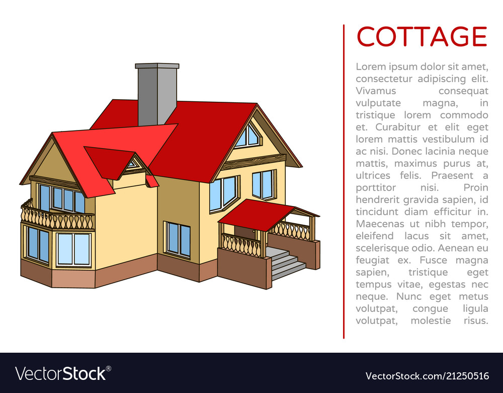 Poster with a cottage and a place for text