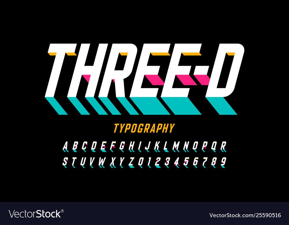 Three-dimensional style modern font design