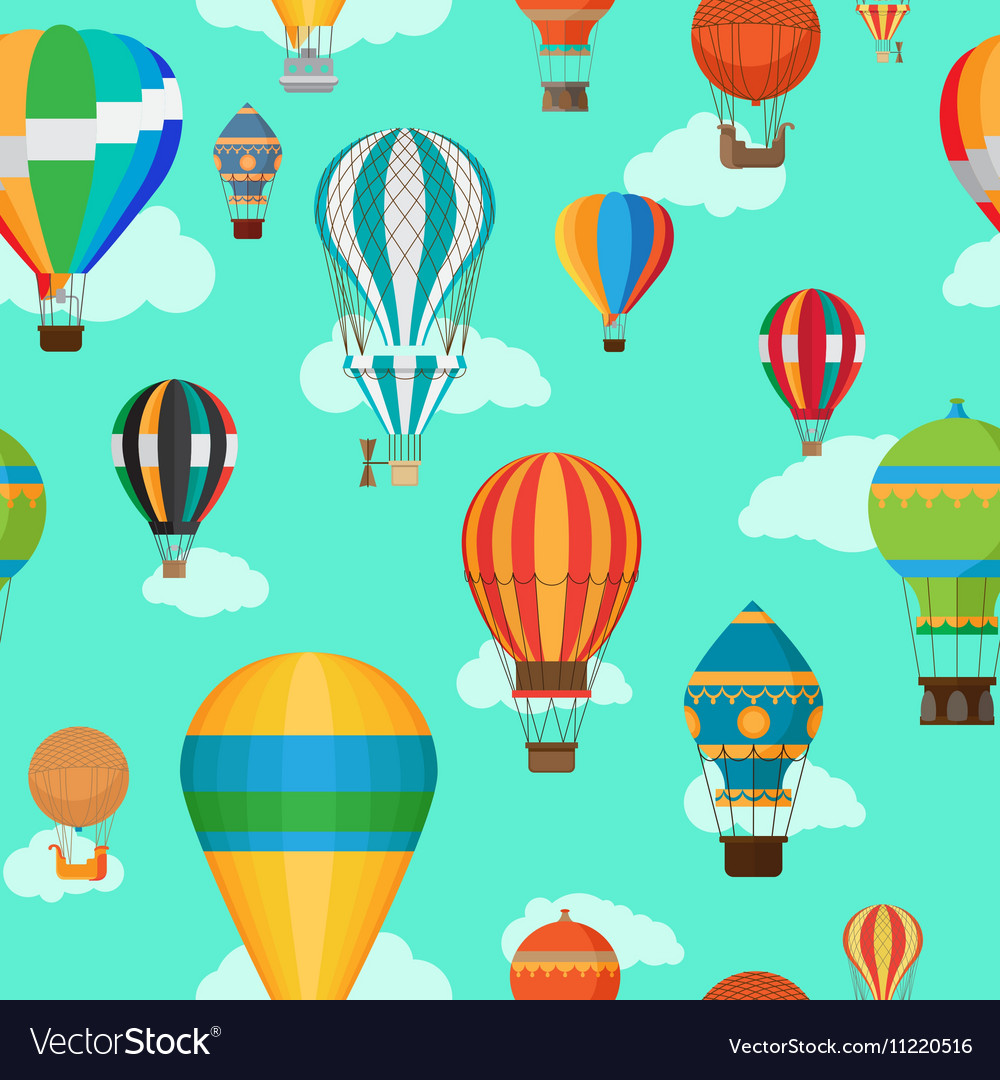 Vintage hot air balloons seamless pattern