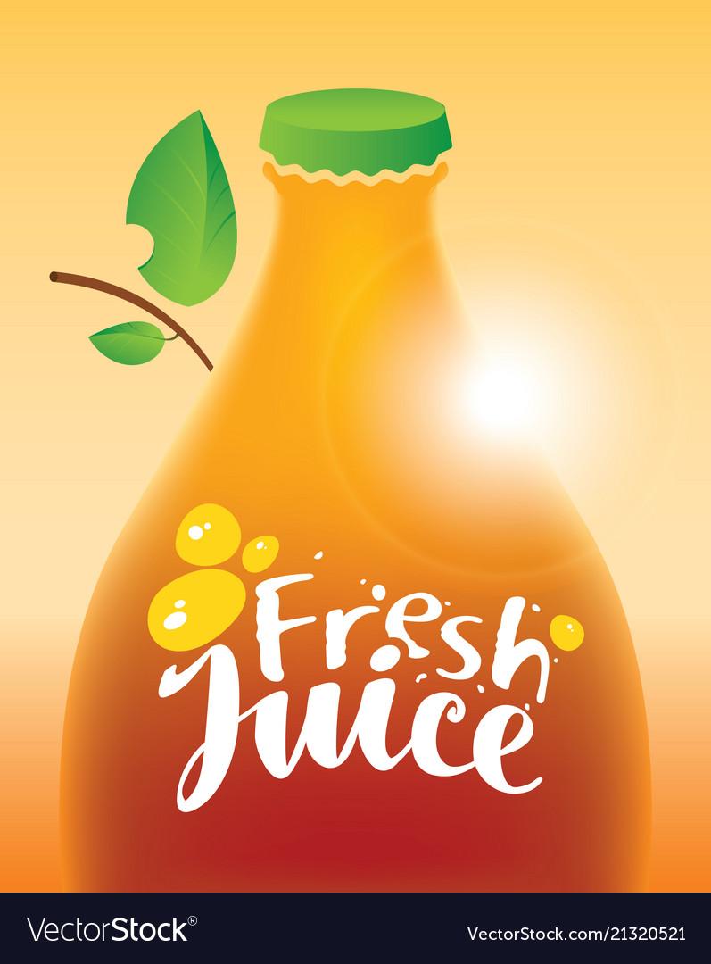 Bottle with inscription fresh juice