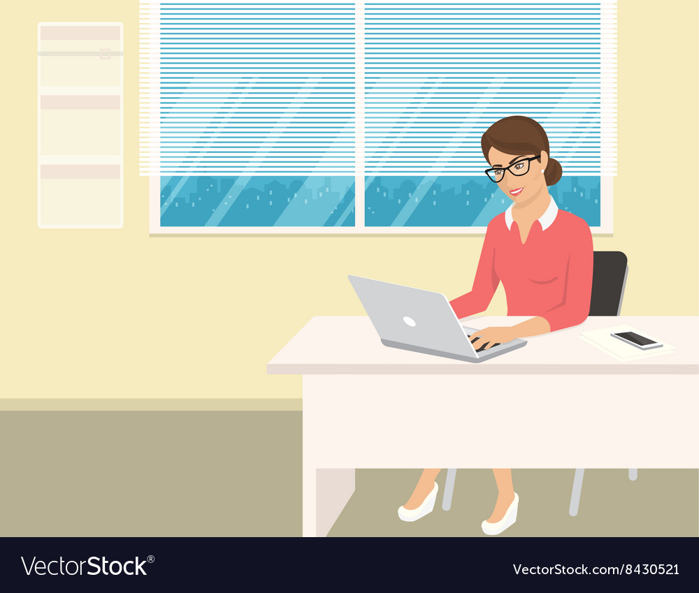Business woman wearing rose shirt sitting in the
