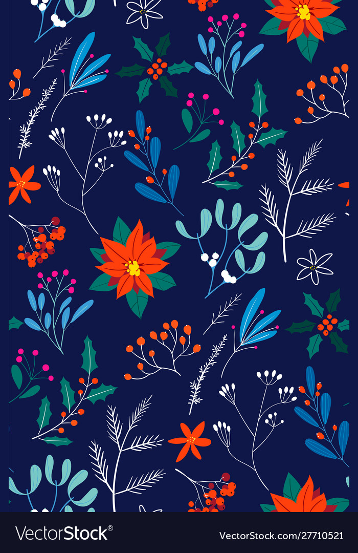 Hand drawn floral christmas seamless pattern