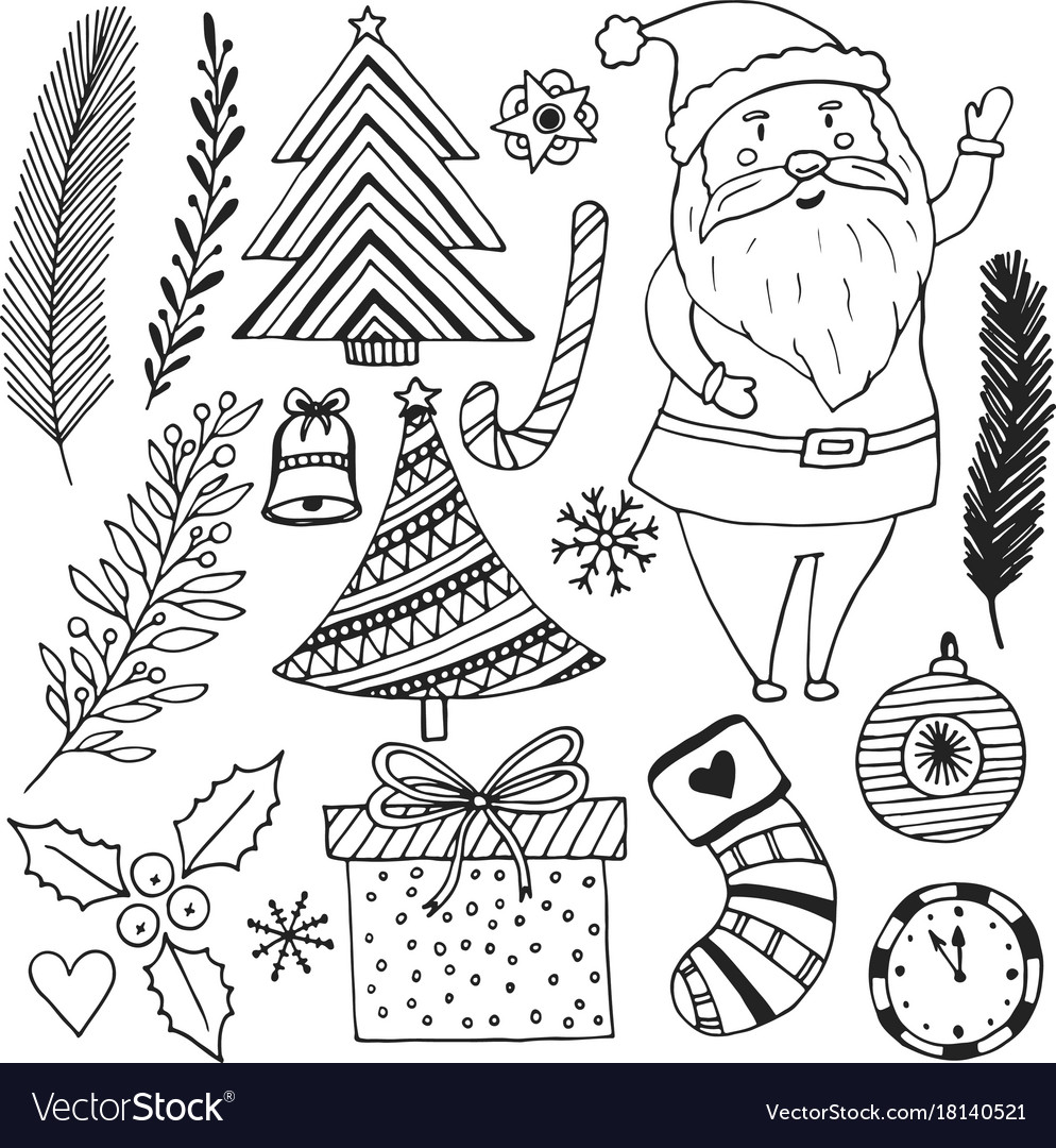 Happy new year sketch doodle set christmas
