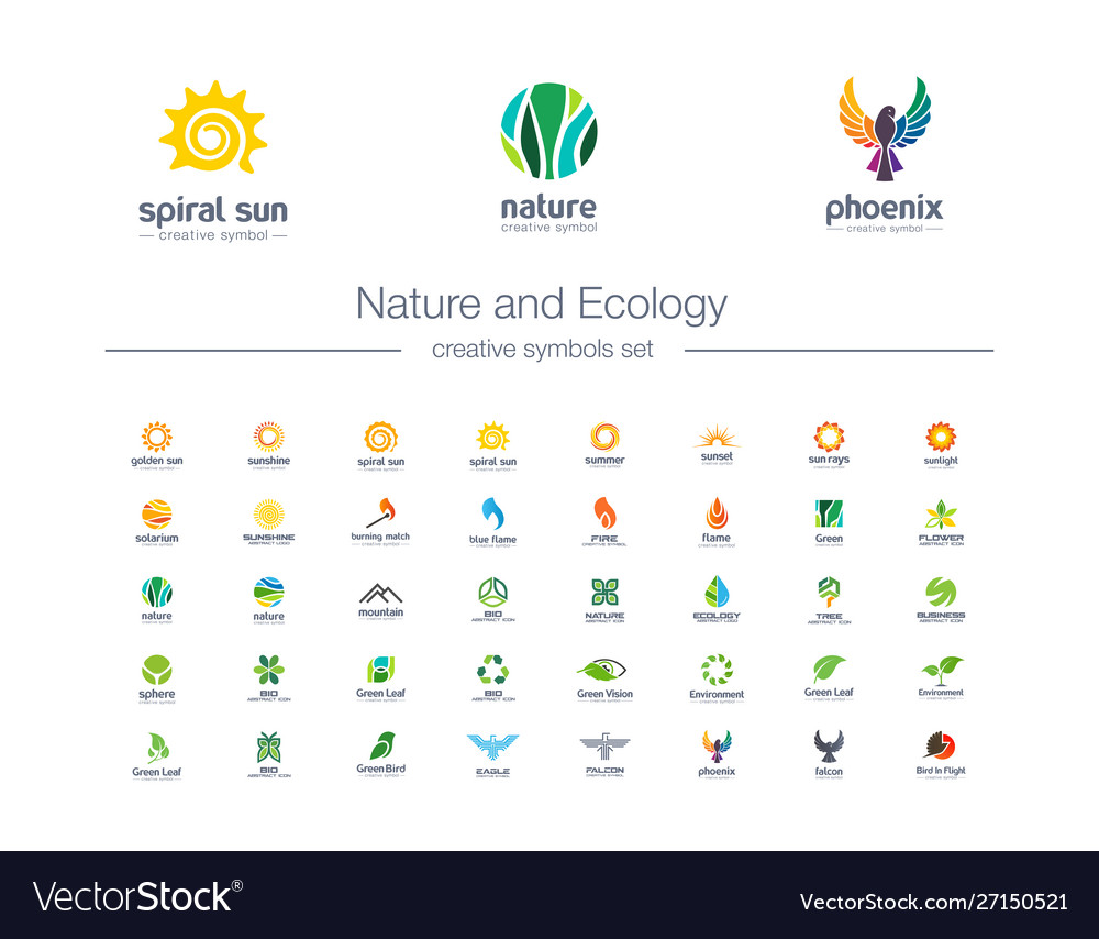 Nature and ecology creative symbols set organic