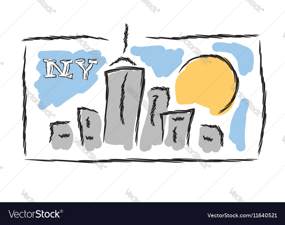 NY drawn cityscape symbol vector image