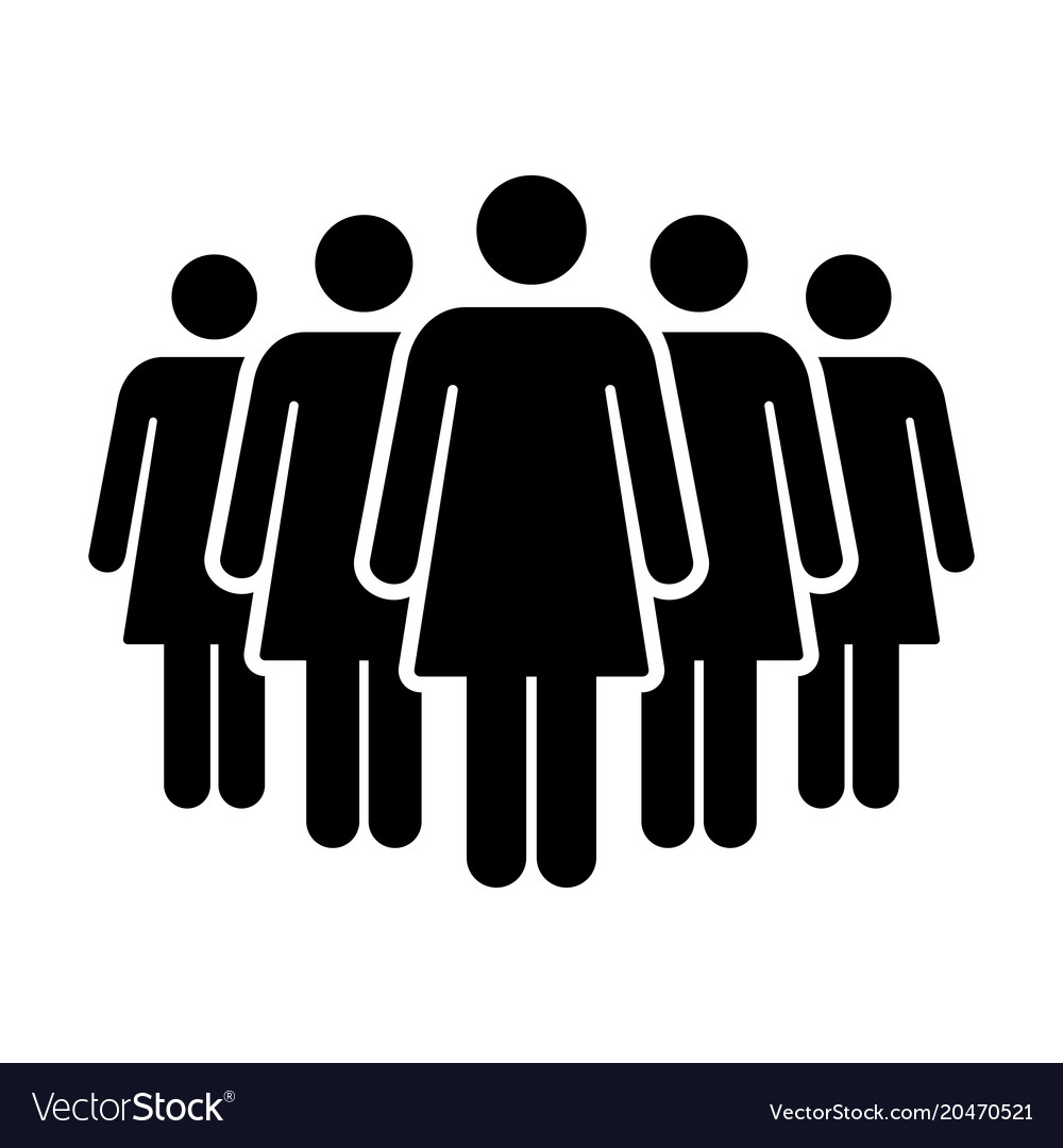 People Icon Group Of Women Team Symbol For Vector Image