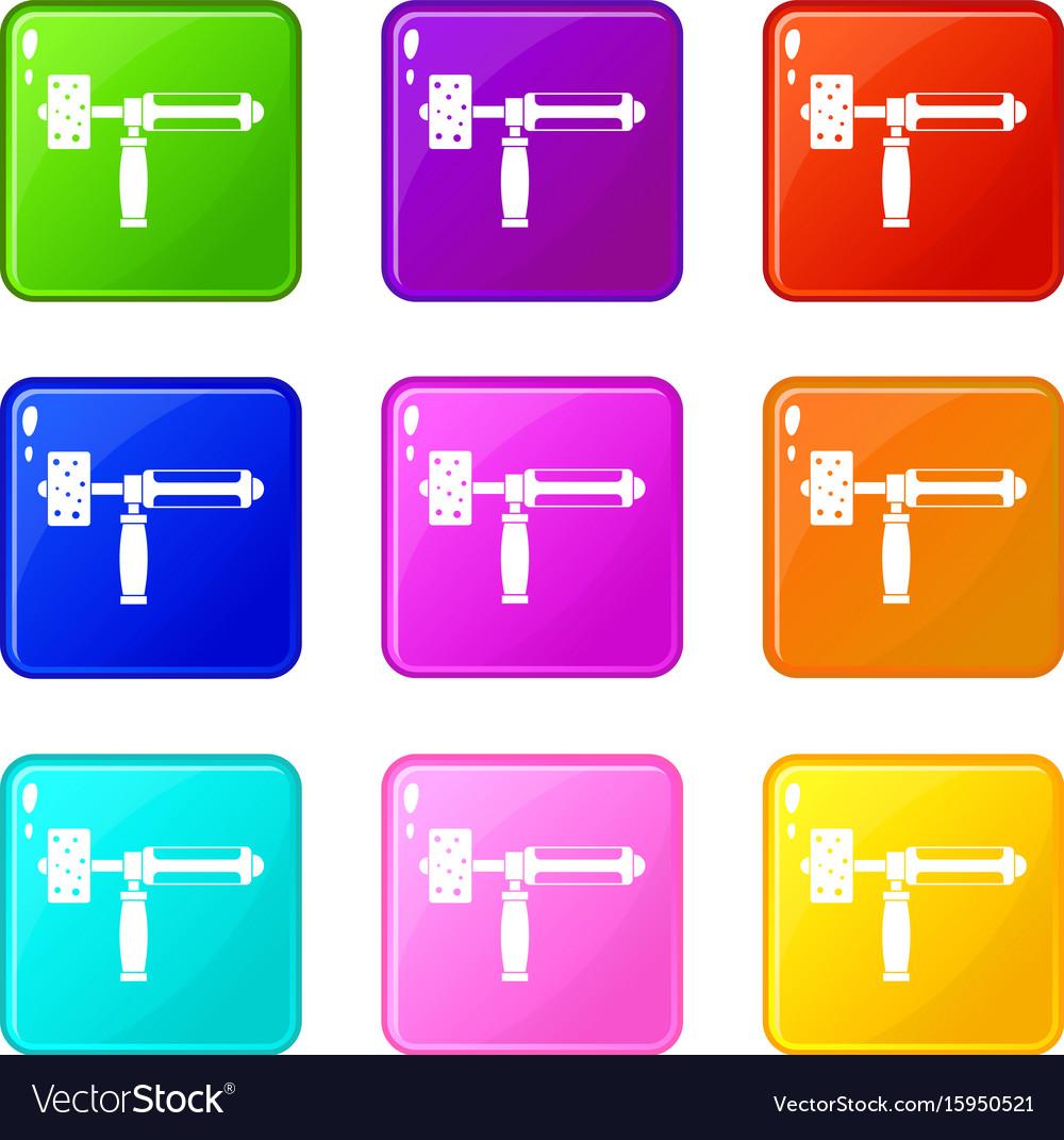 Precision grinding machine set 9 vector image