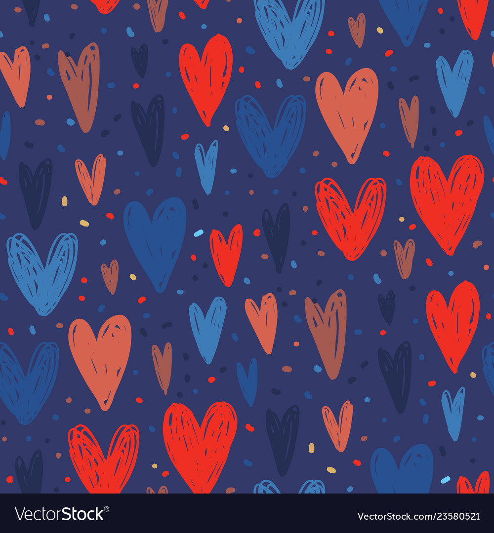 Seamless pattern with hand drawn hearts in