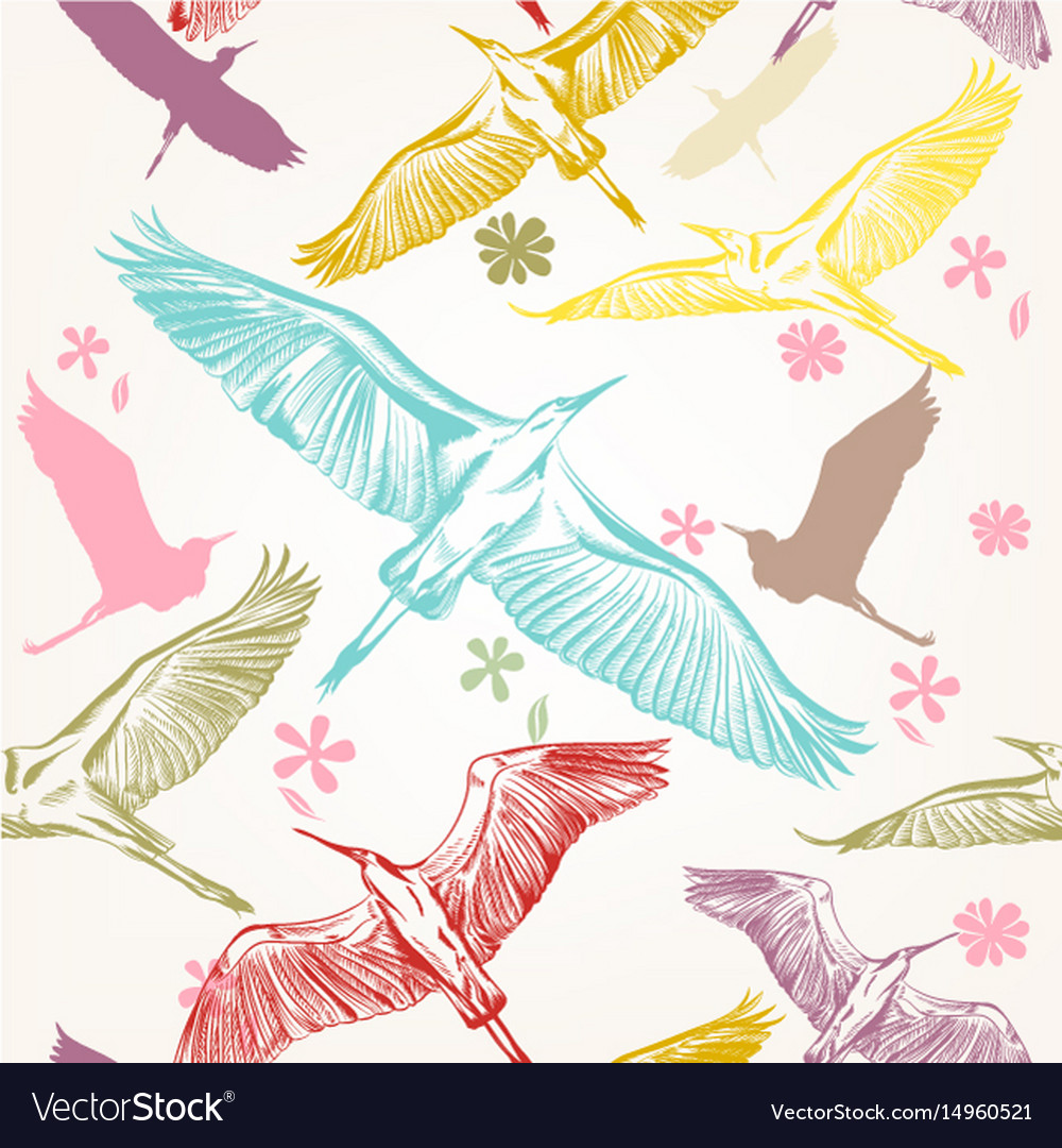 Seamless Wallpaper Pattern With Birds Royalty Free Vector