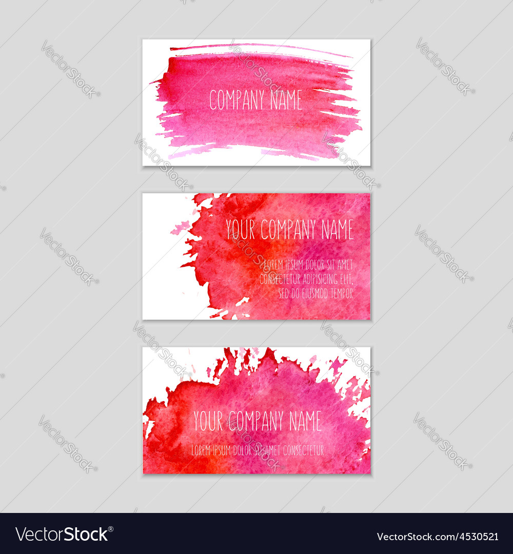 Set of business cards with watercolor background
