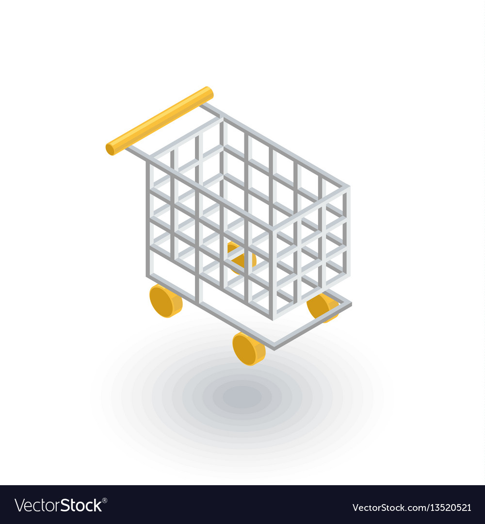 Shopping cart isometric flat icon 3d
