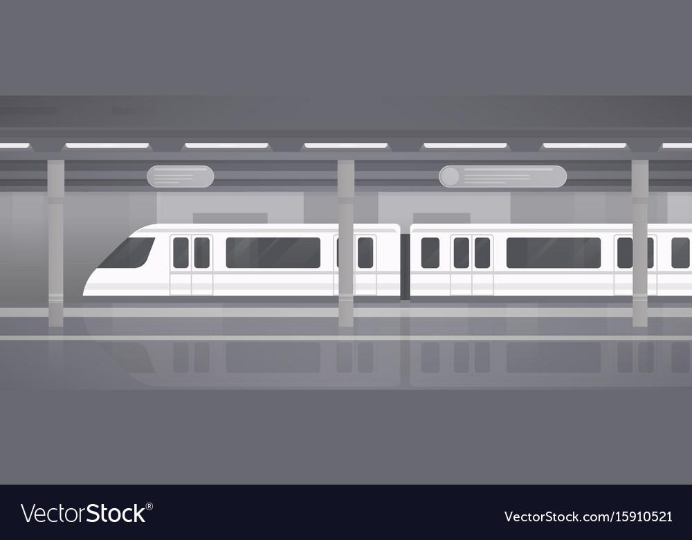 Subway underground platform with modern train