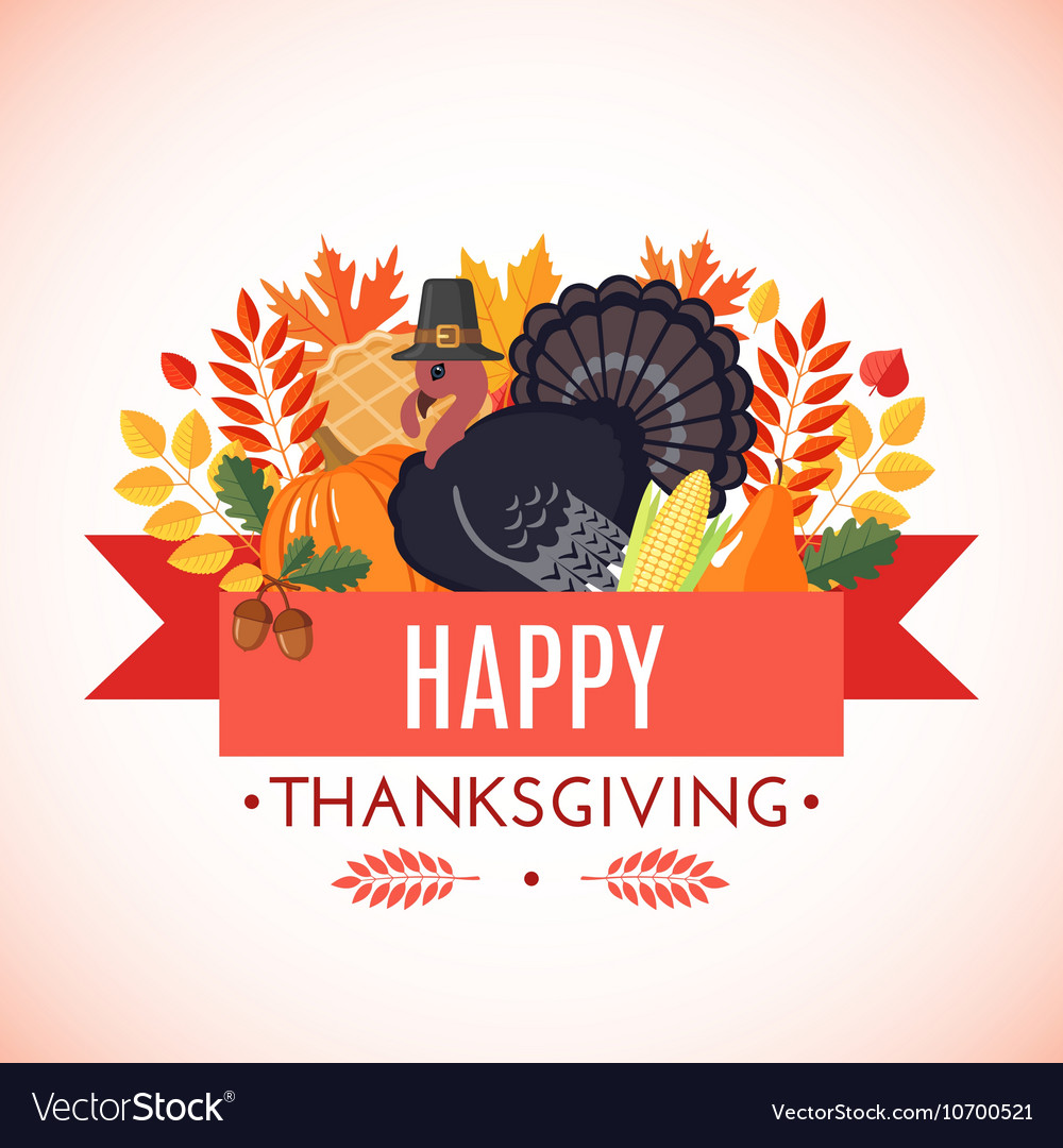 Thanksgiving greeting card in flat style