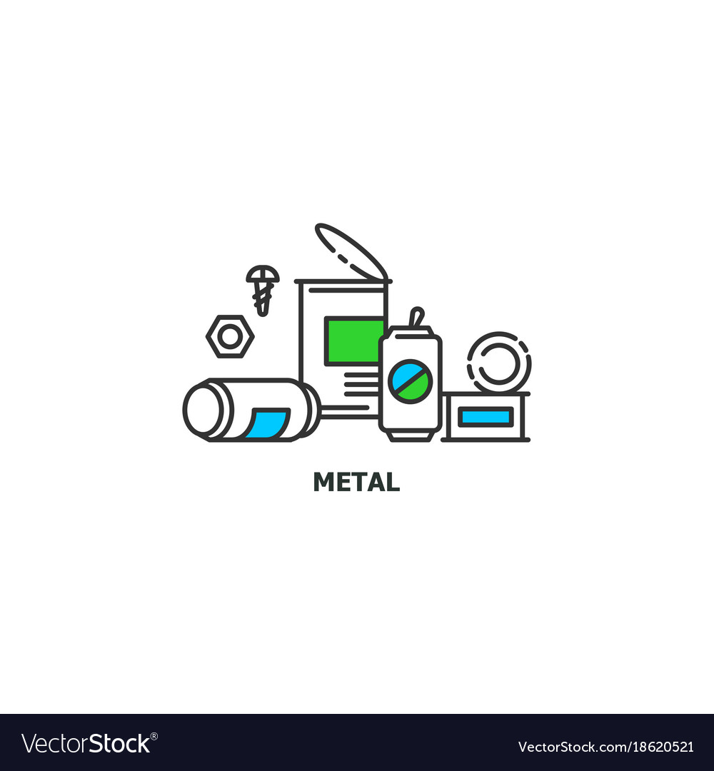 Waste metal recycle concept icon in line design