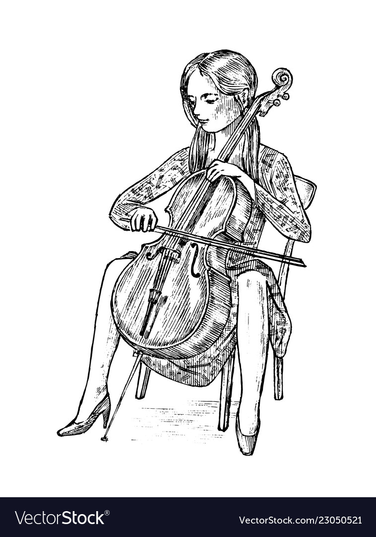 Young woman musician plays cello on the