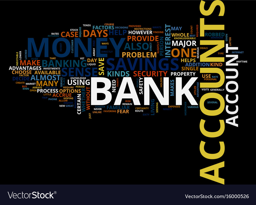 Arrays of bank accounts text background word vector image