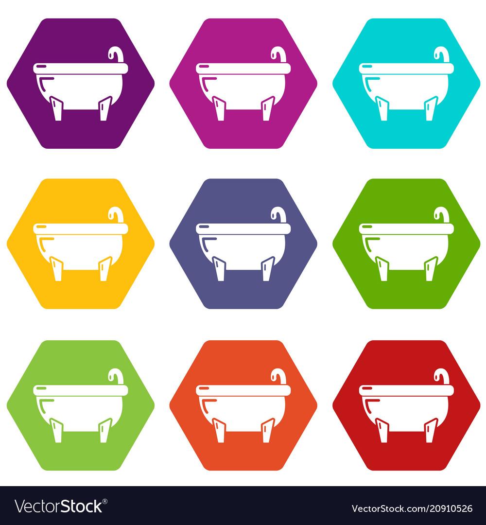 Bathtub icons set 9
