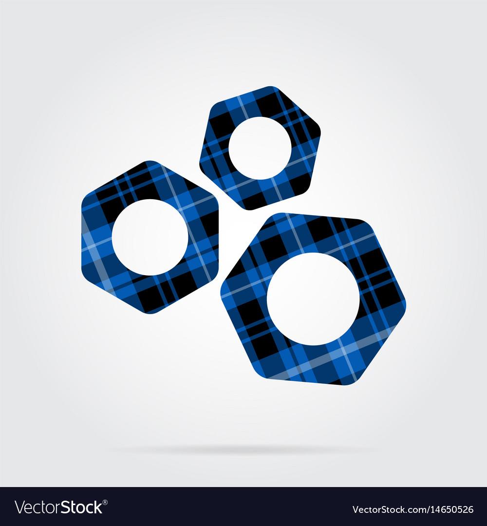 Blue black tartan isolated icon - three nuts vector image