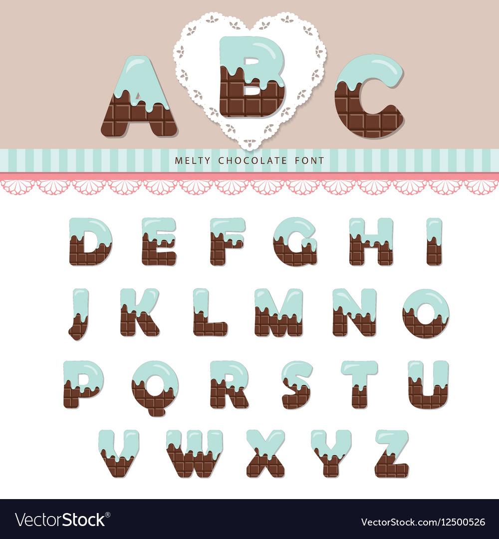 Blue cream melted on chocolate alphabet