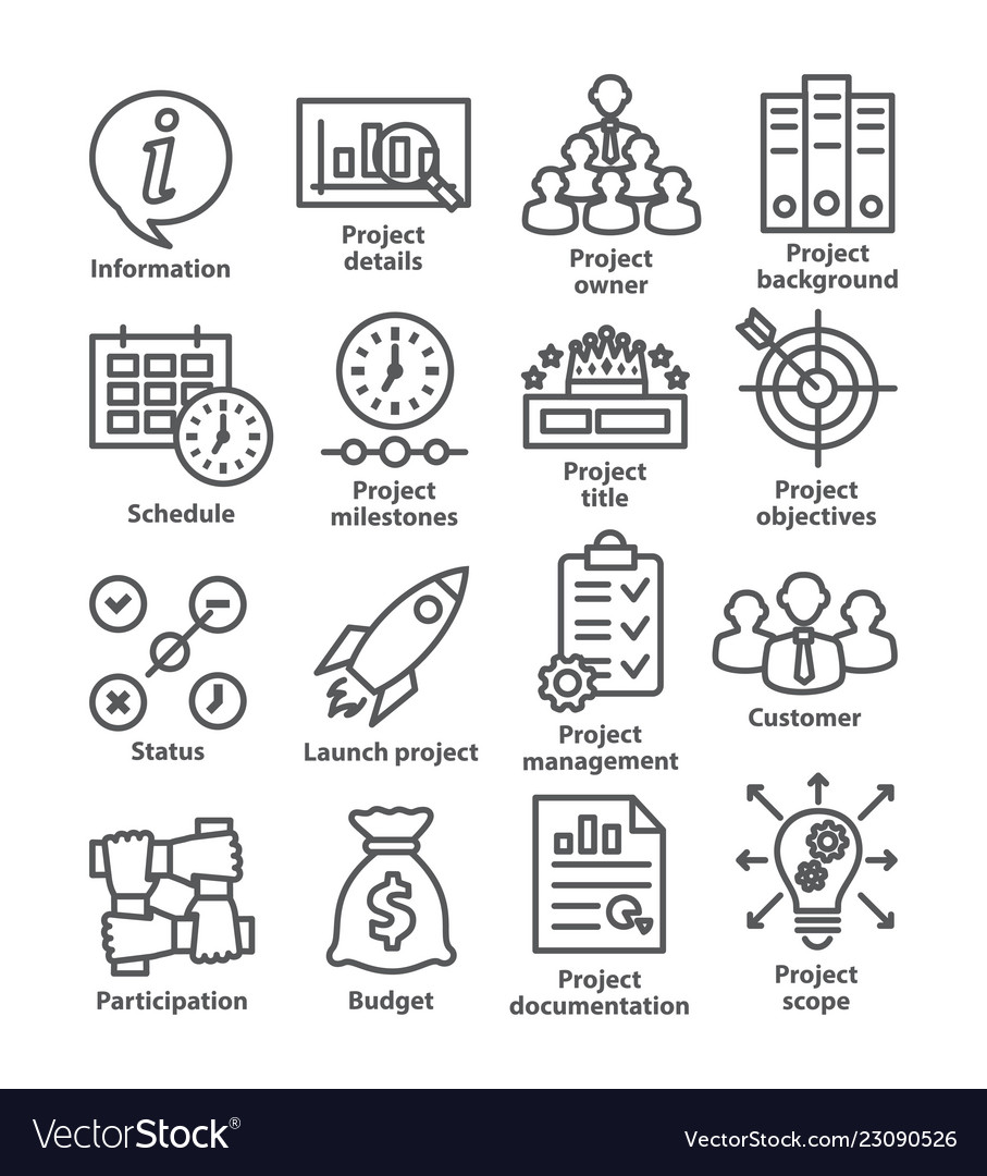 Business management line icons pack 44