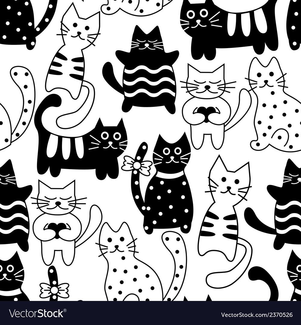 Cartoon seamless bicolor cats