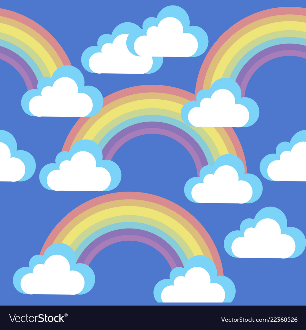 Cartoon sky with clouds and rainbows