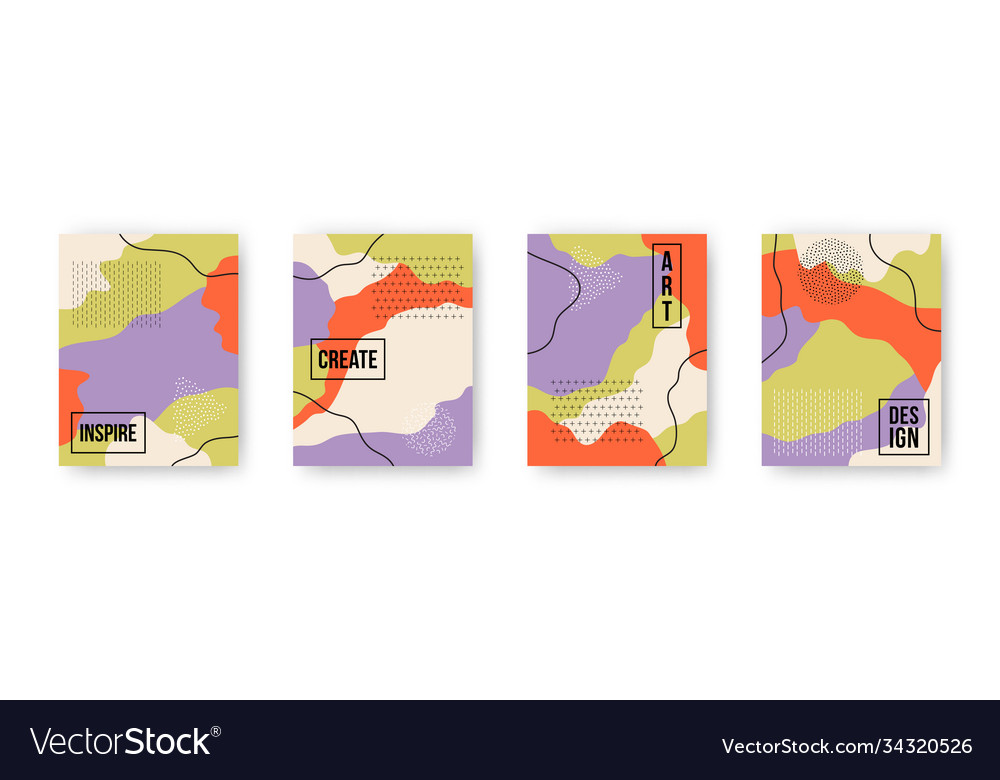Colorful set with abstract pattern cartoon