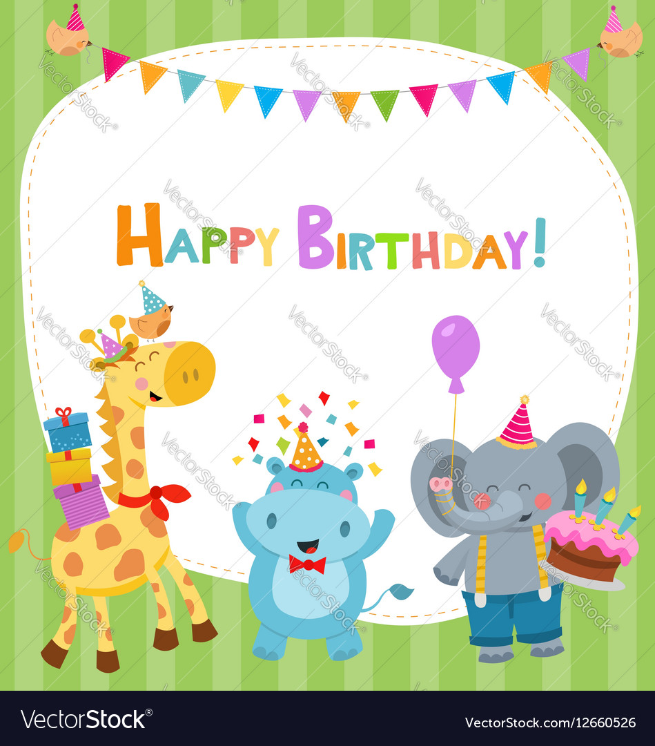Cute Birthday Card With Animals