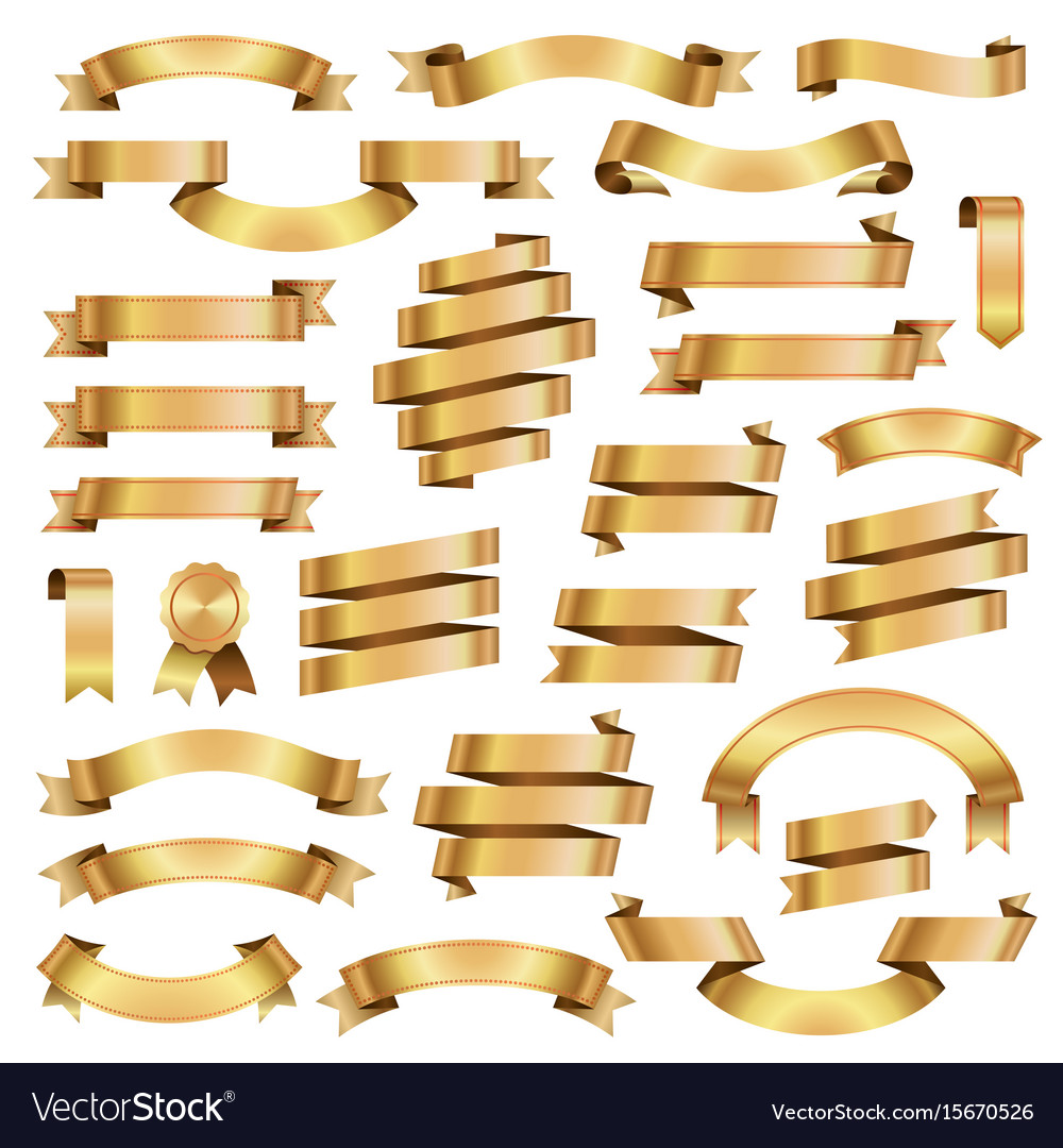 Golden ribbon banners retro collection vector image