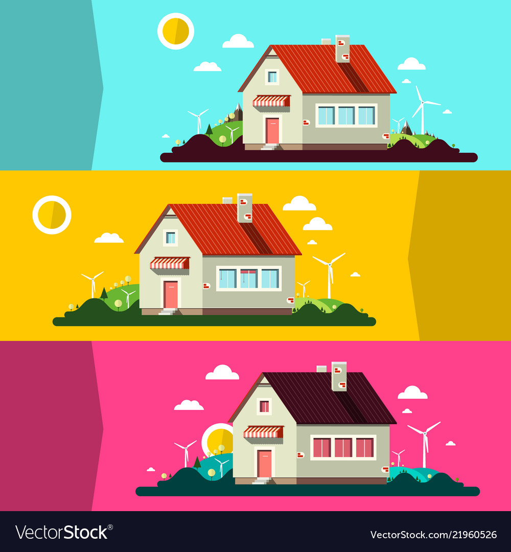 House on landscape flat design landscape scenes