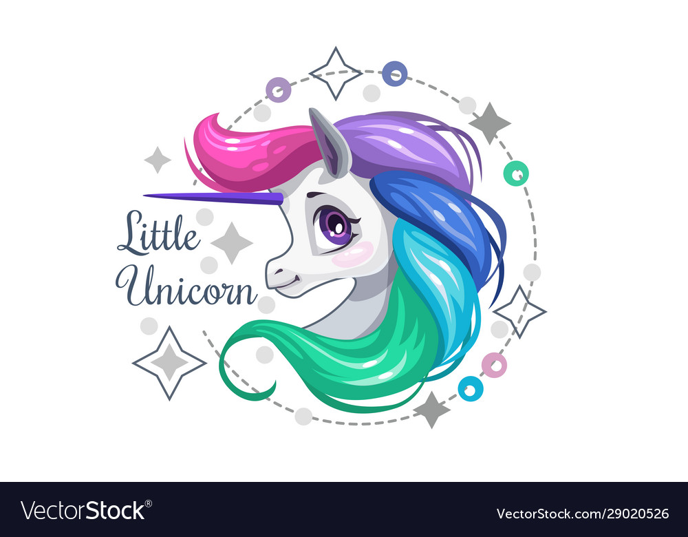 Little cute beautiful unicorn face decorative