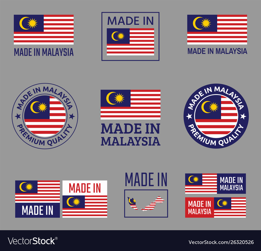 Made in malaysia icon set product labels of