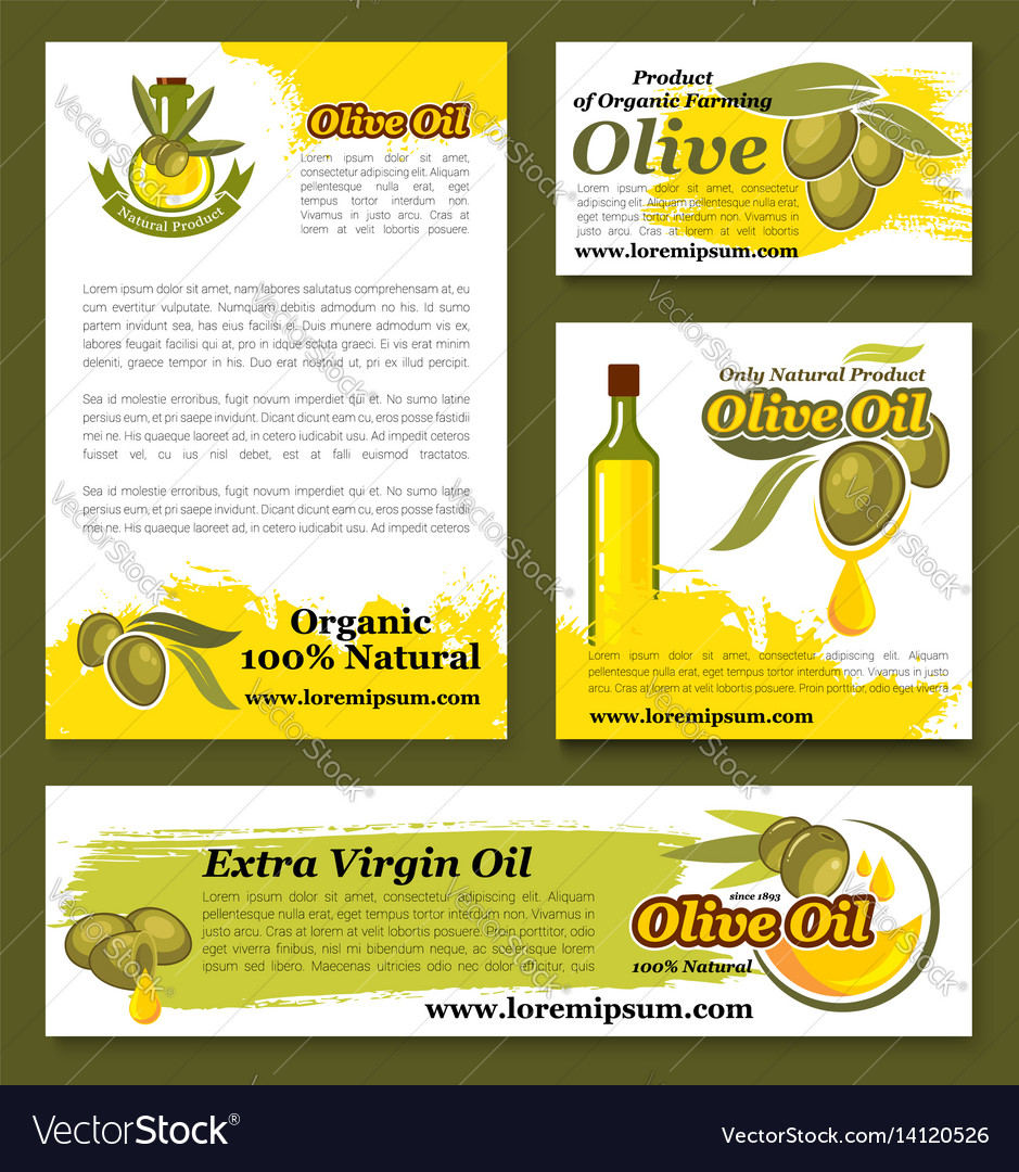 Olives olive oil product templates set