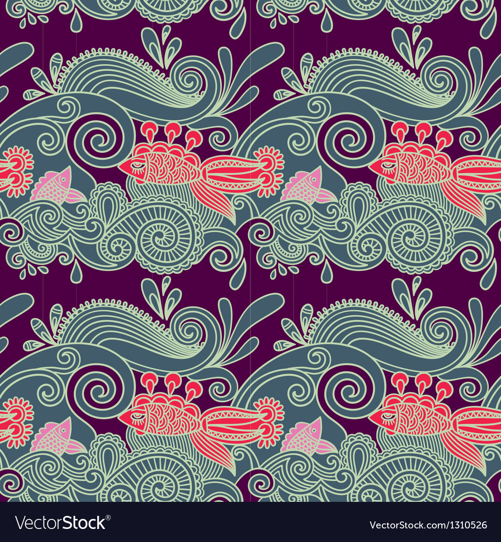 Ornate seamless pattern with fish and wive vector image