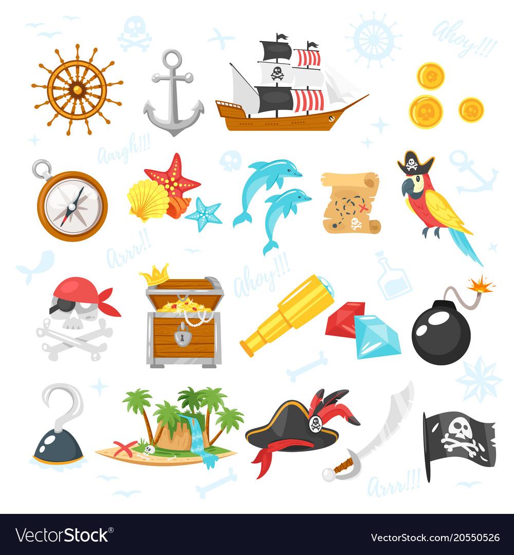 Set of pirate adventure icons