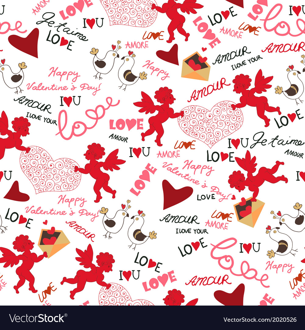Valentine Wallpaper Seamless Love Romantic Vector Image