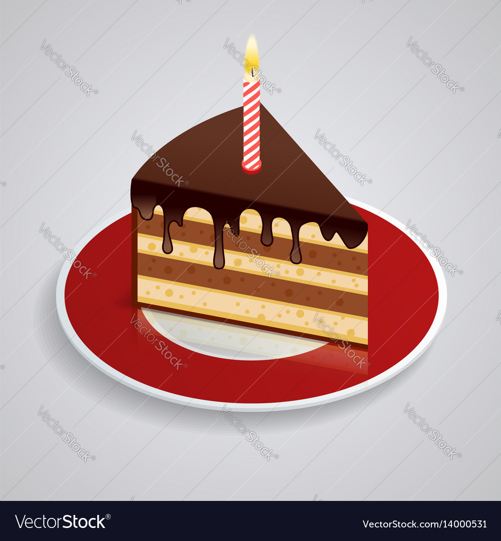 Outstanding A Piece Of Chocolate Cake With One Candle On A Vector Image Personalised Birthday Cards Petedlily Jamesorg
