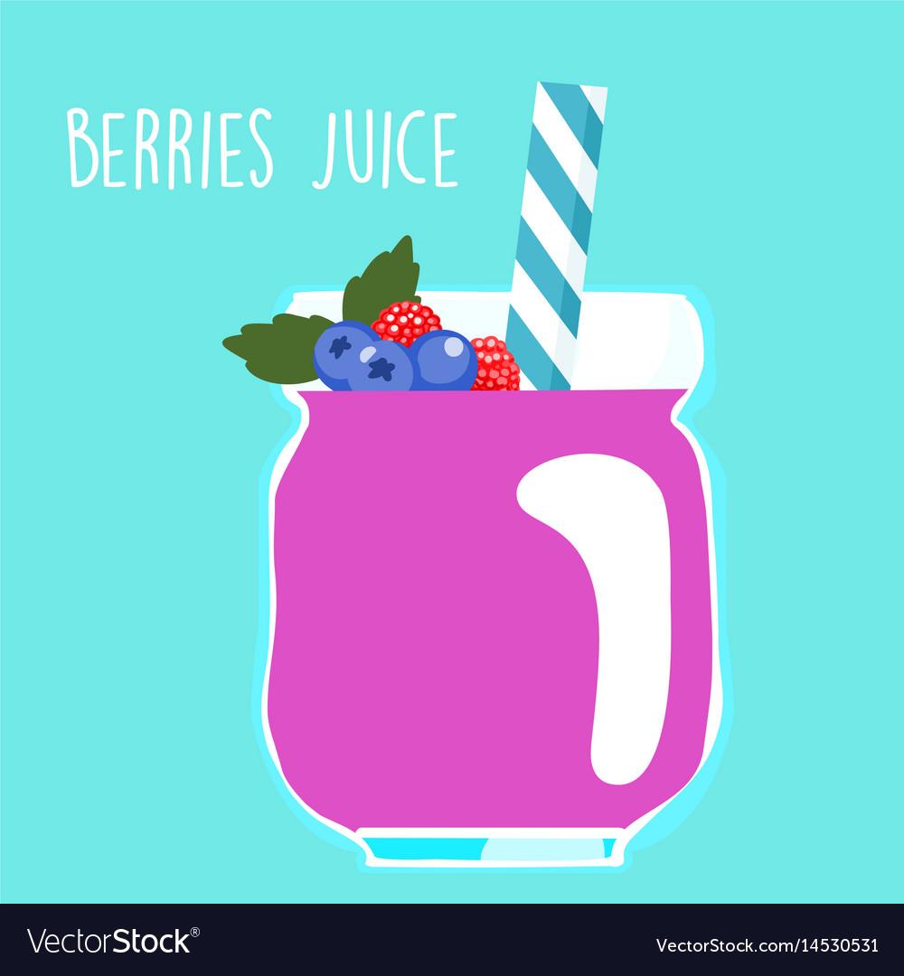 Fresh berries juice in glass vector image