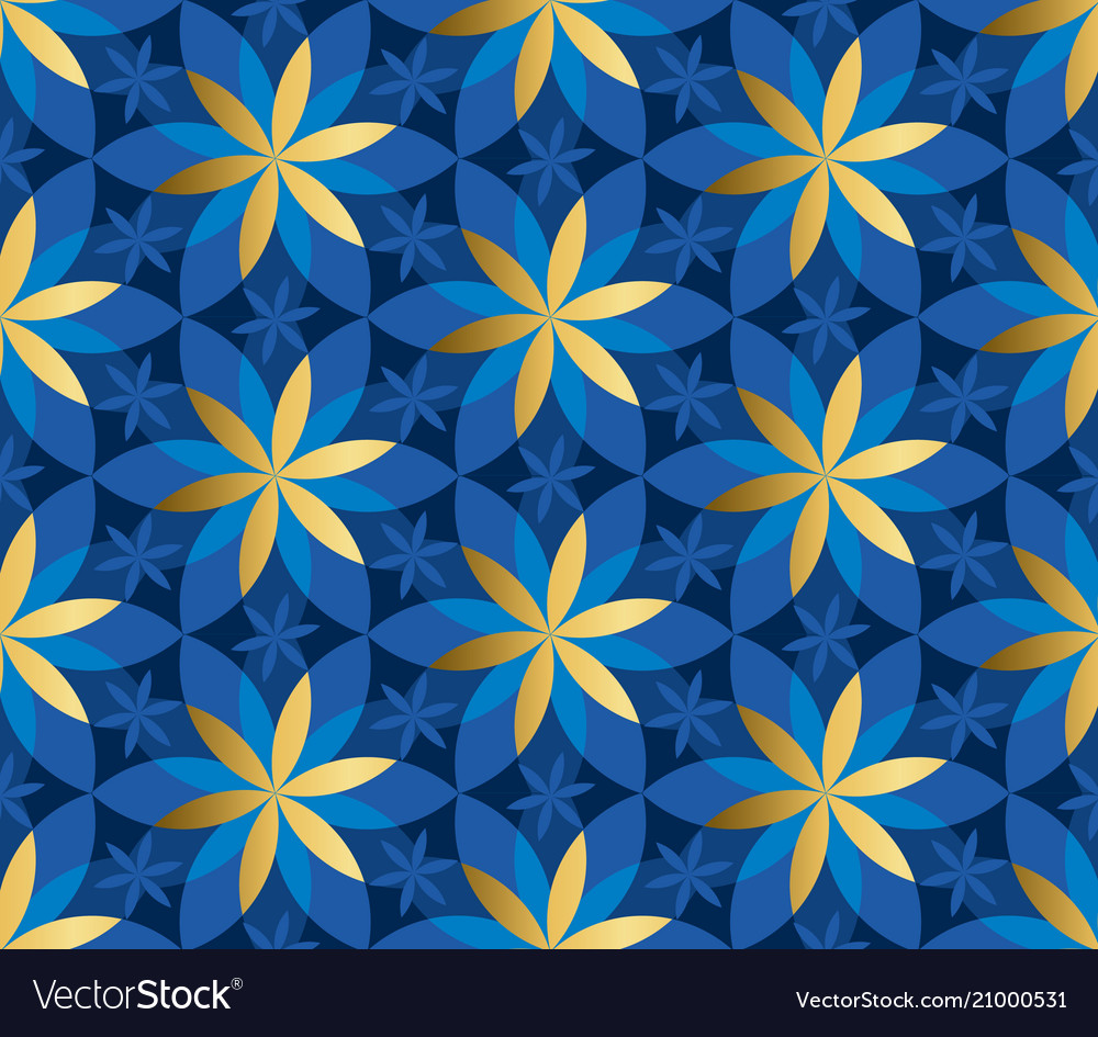 Gold and blue floral geometric seamless pattern