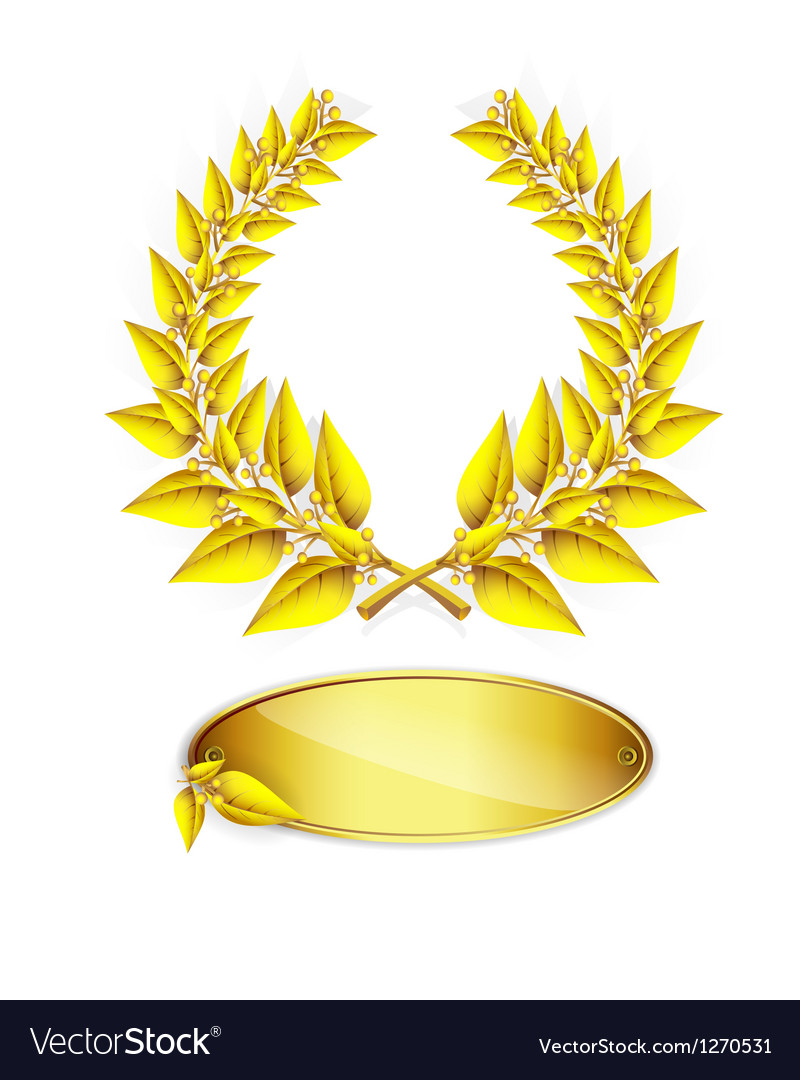 Gold laurel wreath and label vector image