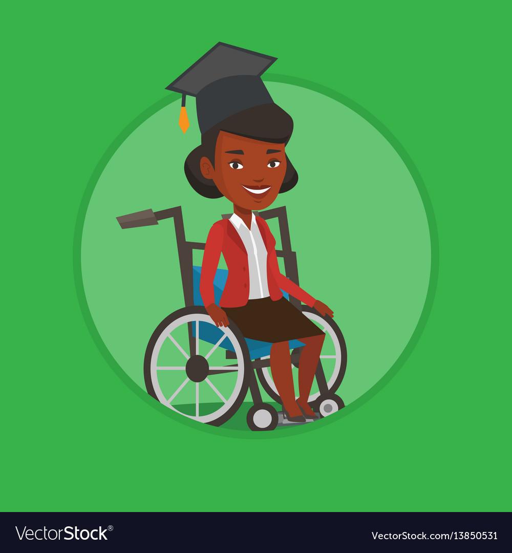 Graduate sitting in wheelchair