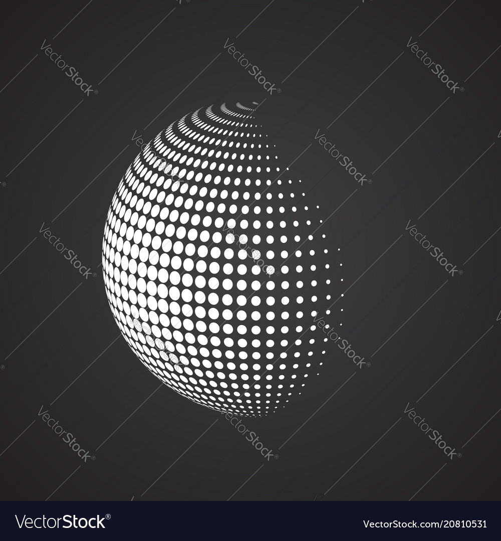 Halftone sphere isolated abstract earth logo