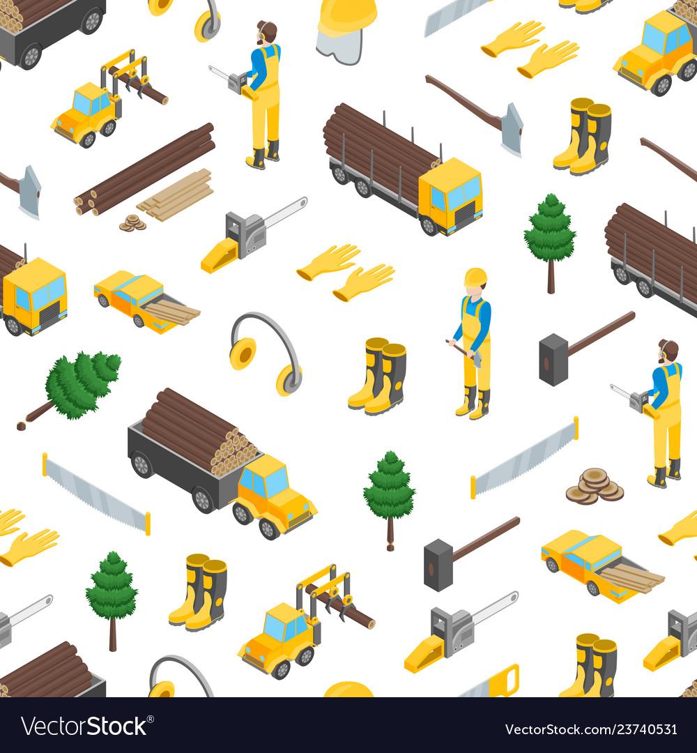 Lumberman woodcutter seamless pattern background