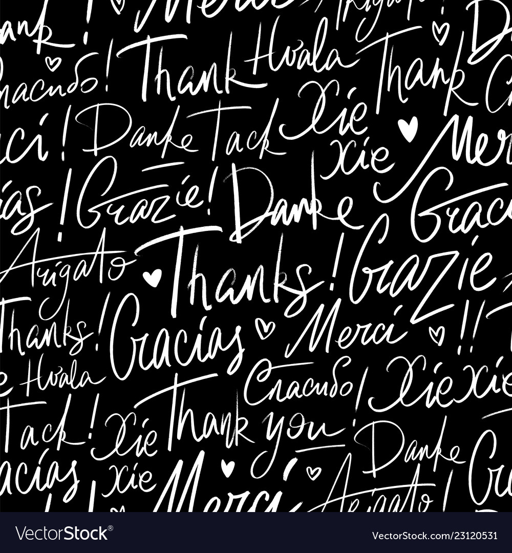 Pattern of thank you in different languages
