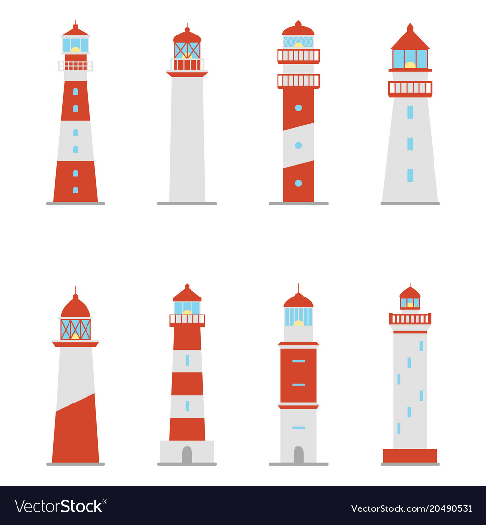 Set of color icons of lighthouses