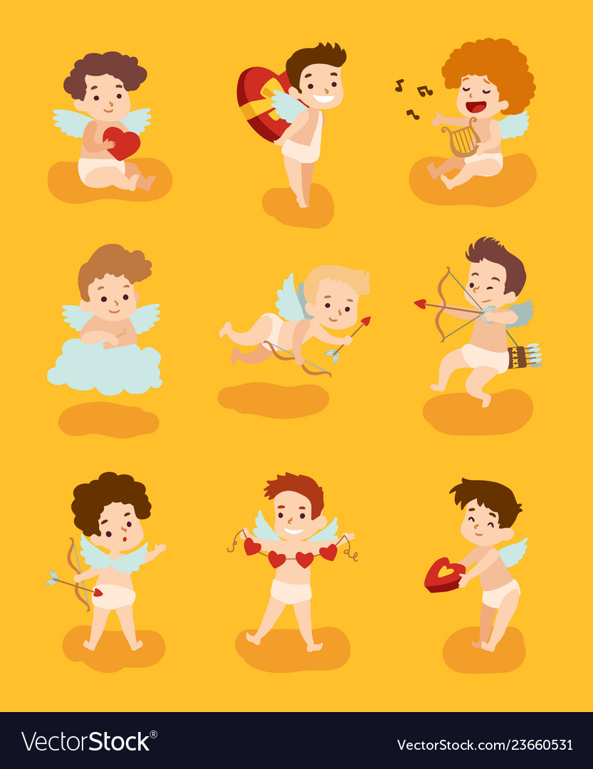 Set of cupid angels characters for valentine day